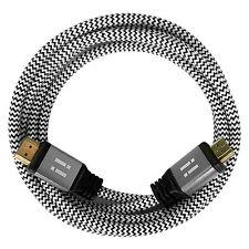 i!® 3m Premium Nylon High Speed HDMI 2.0 Kabel 3D/4K/UHD/FullHD/2160p/1080p weiß