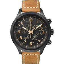 Brand New Timex T2N700 Mens Black Tan Fly-Back Chronograph Watch UK SELLER