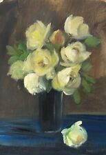 Original oil painting art floral vintage style shabby chic decor yellow roses