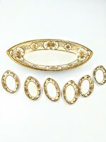 Noritake M-in-Wreath Oval Tray w/6 Salts Made in Japan Hand Painted Raised Gold