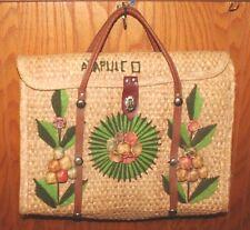 VTG LARGE Wicker Handbag Attache Case Briefcase Tote Purse Acapulco Shopping Bag