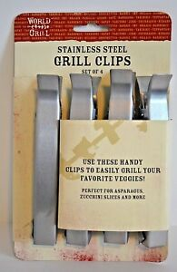 BBQ Grill Clips Stainless Outdoors Cooking Tools Vegetable Food Holders 4 Piece