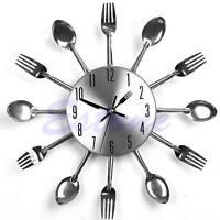 New Modern Design Cutlery Kitchen Utensil Wall Clock Spoon Fork Clock Sliver