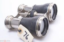 Nickel Plated Antique Deluxe Leather Covered Binoculars M. Size Double Telescope