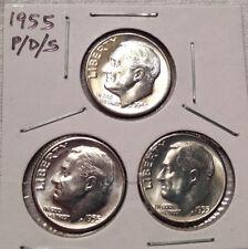 1955 Roosevelt Dimes - Silver P/D/S Uncirculated Set