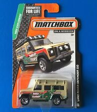 LONG CARD 2015 Matchbox 1997 LAND ROVER DEFENDER 110 SWAMP TOURS - mint on card
