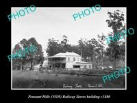 OLD LARGE HISTORIC PHOTO OF PENNANT HILLS NSW RAILWAY STORES BUILDING c1880