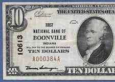 IN  1929  $10   ♚♚ BOONVILLE, INDIANA ♚♚  HARD TO FIND