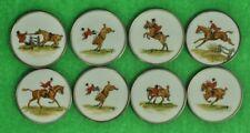 Set of (8) Cyril Gorainoff FoxHunt Milk Glass Coasters w/ Sterling Rims