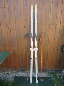 "Ready to Use Cross Country 79"" KARHU 205 cm Skis WAXLESS Base + Poles"