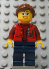 LEGO Female Girl in Red Hoodie with Brown Hair and Cell Phone
