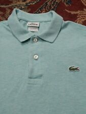 LACOSTE Men's Polo Style 100% Cotton Size 5 SOLID TURQUOISE S/S Shirt EXC!!