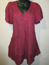 Top Fits 1X 2X 3X Plus Tunic Burgundy Tie Dye Sequins V Neck A Shaped NWT 5780