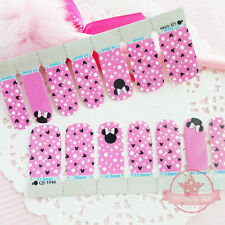 Mickey Mouse pink dots one set of Full Nail strips wraps stickers Salon Manicure