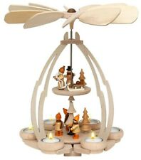 """Tischpyramide """"Winterfiguren Holz hochwertig für 6 Teelichte 35 cm hoch Pyramide"""
