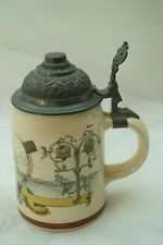 Antique Beer Stein Pewter Lid Man In Tophat Smoking Cigarette Geschutzt 949 1/2L