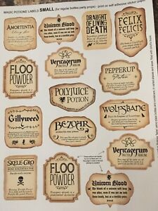 HARRY INSPIRED POTION BOTTLE  STICKERS SIZE MEDIUM & LARGE LABELS