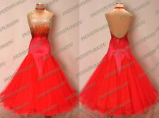 NEW READY TO WEAR FLUO RED STIFF NET BALLROOM COMPETITION DRESS SIZE:6