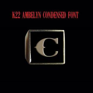 Solid Bronze C Signet Letter Motorcycle Club biker Ring K22 font Custom size