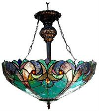 "Stained Glass Chloe Lighting Victorian 2 Light Inverted Pendant Fixture 18"" Wide"