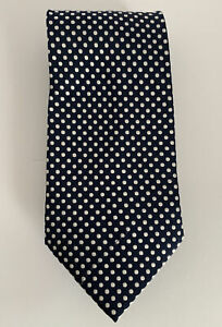 CALABRESE DAL 1924 100% Silk tie Made in Italy Navy And White Polka Dots