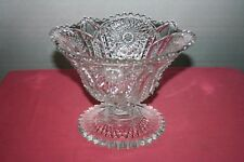 EAPG Heavy Crystal Glass Star Flower Compote with Sawtooth Scalloped Edge