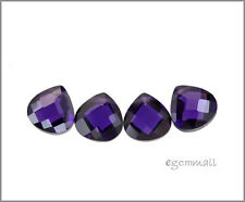 6 CZ Flat Briolette Beads 8x8mm Amethyst Purple #64611