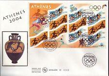 BLOC 73 + FDC ENVELOPPE 1er JOUR SOIE  JEUX OLYMPIQUES ATHENES 2004