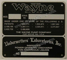 Wayne Gas Pump ID Tag Fits Models 60, 70 & 100 ID-107 Free S&H