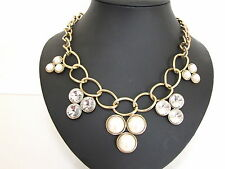 ChuNky CreAm PeaRLs CrysTals GoLd LinK ChaiN StaTeMenT NecKlace BriDal JeweLLeRy
