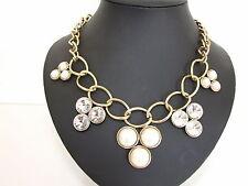 Chunky crème perles cristaux or lien chaîne déclaration collier mariage bijoux
