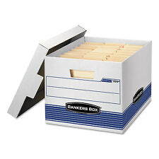 Bankers Box STOR/FILE Med-Duty Letter/Legal Storage Boxes Locking Lid White/Blue