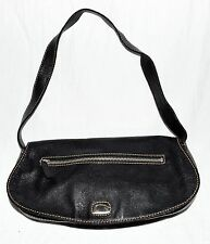 GUESS Black & Tan Stitching Faux Leather Small Shoulder Bag with Snap Flap Clasp