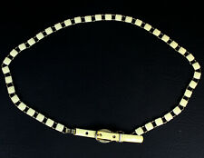 Womens Vintage Metal Chain Enameled BELT Gold Tone and Ivory Color 27 to 29 Inch