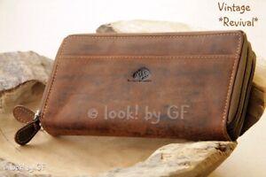 Greenburry Damen Portemonnaie RFID Leder Geldbörse Doppel-RV braun 1831-25