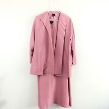 Eileen Fisher Pink 100% Silk Midi Dress Suit Open Jacket Set Size XL