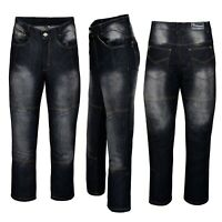 Mens Motorbike Motorcycle jeans Reinforced denim Protective Lining Trouser Black