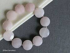 Faceted Baby Pink Rose Quartz Coins & Sterling Silver Beaded Stretchy Bracelet