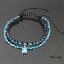 Fußkette Fußkettchen mit Bicone Perlen und Kristall türkis Anhänger verstellbar