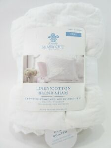 Shabby Chic White Pillow Sham Linen Cotton Quilted Crochet Lace Euro LARGE 26x26