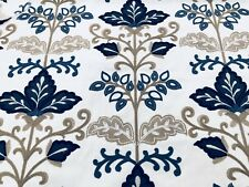 Fabricut Crewel Embroidered Upholstery Fabric- Lens Floral Delft 2.40 yd 8648202