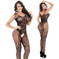 Women Sexy Open Crotch Fishnet Body Stocking Bodysuit Nightwear Lingerie QS015