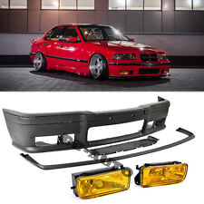 For 92-98 BMW E36 3-Series M3 Style Front Bumper Moldings + Yellow Fog Lights