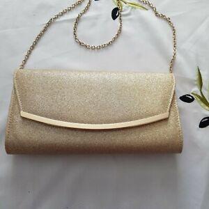 "Ladies NEXT"" Gold Sparkly Clutch bag"