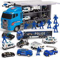Die Cast Police Patrol Rescue Truck Mini Police Vehicles Truck Toy Set Carrier