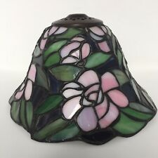 Vintage Meyda Tiffany - Stained Glass Accent Lamp Shade - Pink Flowers