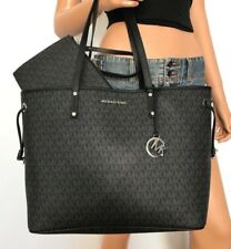 NWT Michael Kors Large Tote Handbag Bag Black Jet Set Travel MK PVC