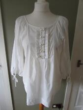 MARKS & SPENCER Ladies White Shimmer Kaftan Top Blouse Tunic Cover Up Size 10
