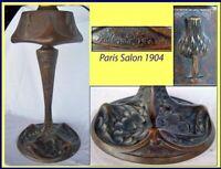 Lamp Art Nouveau Bronze Sculpted Thistle Listed Artist Leleu Paris French (3121)