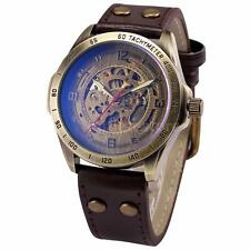 SHENHUA Men Steampunk Skeleton Self-Winding Mechanical Leather Band Watch O4F7